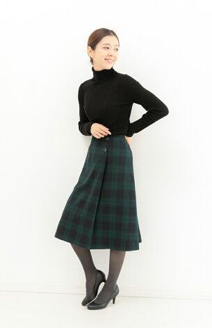 ブティックひできラップスカート風タック付きスカート