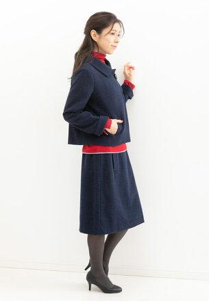 ブティックひできステンカラーワンボタンボックスシルエットジャケットセミタイトスカート
