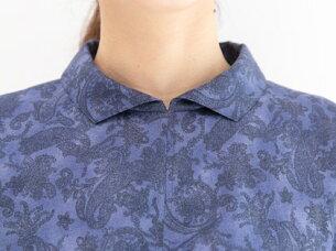ブティックひでき胸元ギャザー襟付き半袖ワンピース