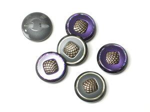 クチュールボタン 樹脂製 btp0029シルバー M 6個セット 2色(パープル・グレー) 【RCP】