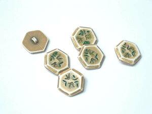 ファンシーボタン 樹脂製 六角型 フラワー2 btp0123 グレーブラウン 6個セット 【RCP】
