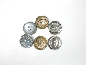 クチュールボタン 金属製 btm000249 18mm 6個セット (ゴールド、グレイ、シルバー) 【RCP】