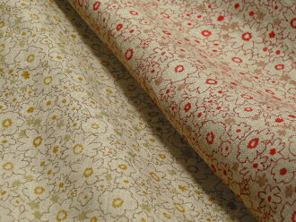 Japan-made linen Angel soft processing flower print (red and yellow) L