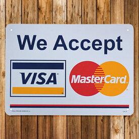 【メール便送料無料】 【看板】プラスチックサインボード カード利用可 (WE ACCEPT VISA Master Card) [CA-37] ■ 男前インテリア メッセージ サインプレート アメリカン雑貨