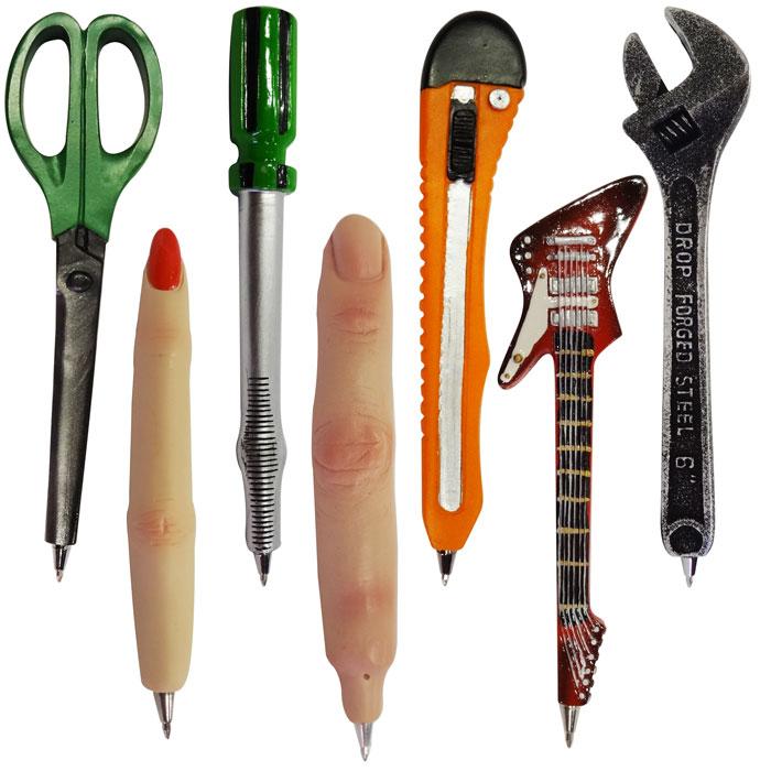 ファニーボールペン ■ おもしろ文房具 面白 ハサミ 指 カッター ギター アメリカン雑貨