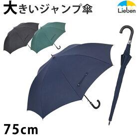 スーパービッグジャンプ傘 75cm×8本骨 メンズ 雨傘 グラスファイバー骨 【LIEBEN-0162】 大きい傘 男性用 紳士傘 naga