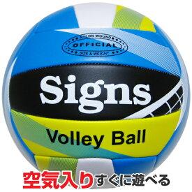 4号カラーバレーボール《カラー/イエロー&ブラック&ライトブルー》Signs(サインズ)
