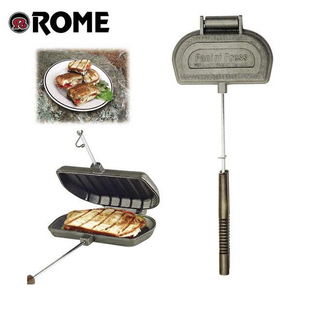 Rome Pie Iron/ローム Panini Press Cast Iron パニー二プレスキャストアイアン #1305 【BBQ】【CKKR】 ホットサンド サンドウィッチ 直火・IH両対応 アイロン 鋳鉄 アウトドア パニー二 パン 【highball】