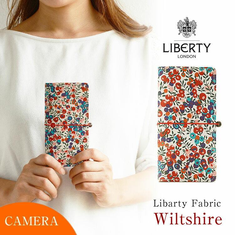 かわいい スマホケース 手帳型 全機種対応 本革 花柄 左利き 右開き対応 「リバティ・Wiltshire ウィルトシャー・ブルー&ピンク」 カメラ穴 HIGHCAMP