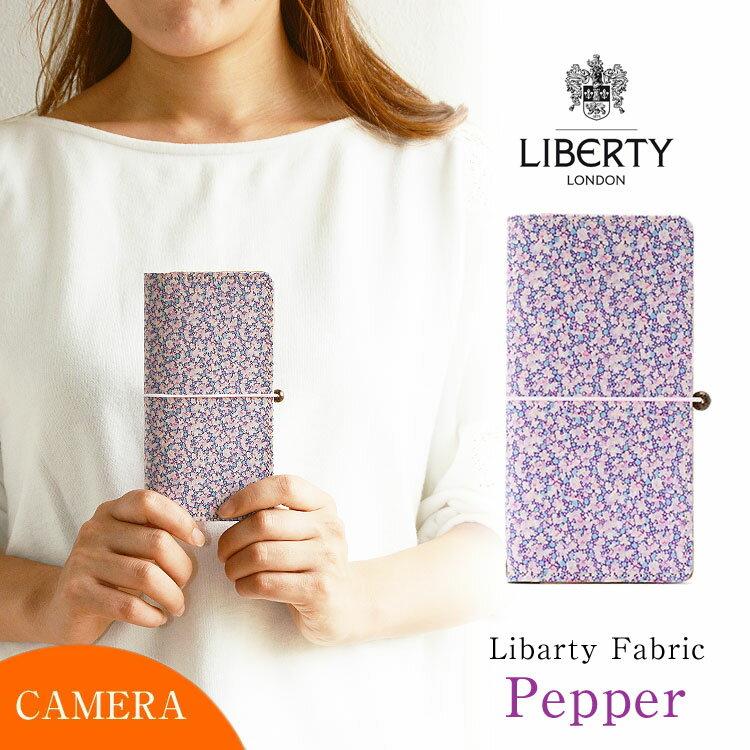全機種対応 手帳型 かわいい 花柄 スマホケース「リバティ・Pepper ペッパー・ライトパープル」【左利き用も選べます】本革 カメラ穴 HIGHCAMP