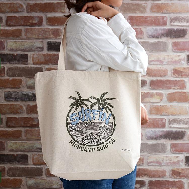 【メール便送料無料】トートバッグ キャンバス ショルダー プリント「PalmsHicampSurf」かばん レディース メンズ 春 夏 布 ブランド