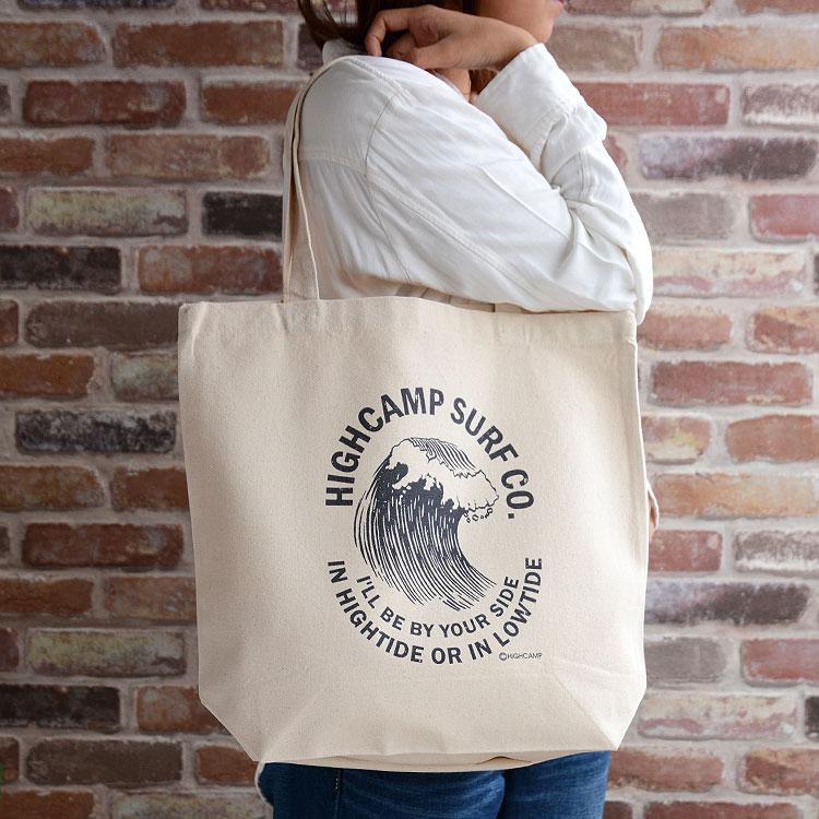 【メール便送料無料】トートバッグ キャンバス ショルダー プリント「Surf Co」かばん レディース メンズ 春 夏 布 ブランド