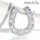 pt900【0.5ct】馬蹄モチーフダイヤモンドネックレス