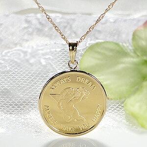 【送料無料】K24 コイン ネックレス ペンダント純金 ゴールド 18k 24k 18金 24金 ジュエリー 地金ネックレス 地金 ペンダント 可愛い 人気 プレゼント 誕生日 母の日 エンジェル 2.5g 天使 貨幣 ゴ