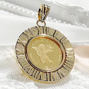【送料無料】K24 コイン ネックレス ペンダント トップ【限定3個】純金 ゴールド 18k 24k 18金 24金 ジュエリー 地金ネックレス 地金 ペンダント 可愛い 人気 プレゼント 誕生日 母の日 エンジェ
