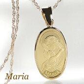K24聖母マリアコインネックレスペンダント