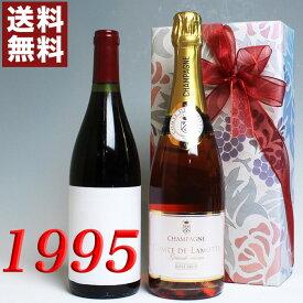【送料無料】 1995年 赤ワイン とロゼ・シャンパンの2本セット(無料ギフト包装) モルゴン [1995] フランス ワイン ・赤 [1995] 平成7年 誕生年 ビンテージワイン ヴィンテージワイン 生まれ年ワイン