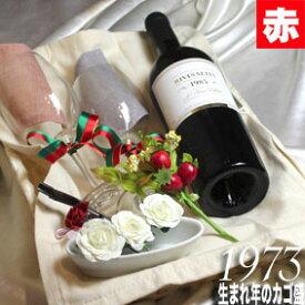 [1973]生まれ年の赤ワイン(甘口)とワイングッズのカゴ盛り 詰め合わせギフトセット フランス産 リヴザルト [1973年]【送料無料】【メッセージカード付】【グラス付ワイン】【ラッピング付】【セット】【お祝い】【プレゼント】【ギフト】