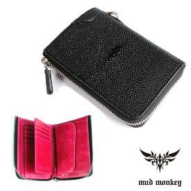 【メーカー保証】 バイカーズウォレット ファスナー財布 スティングレイハーフ ブラックINSIDE PINK