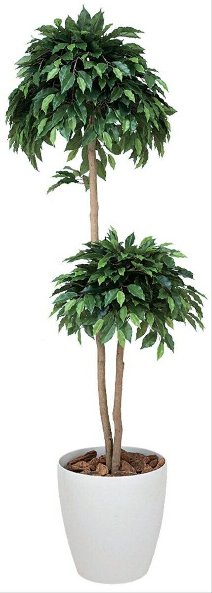 光触媒 観葉植物 光の楽園 ベンジャミン ダブル 高さ1.6m【インテリアグリーン 大型 人工観葉植物】