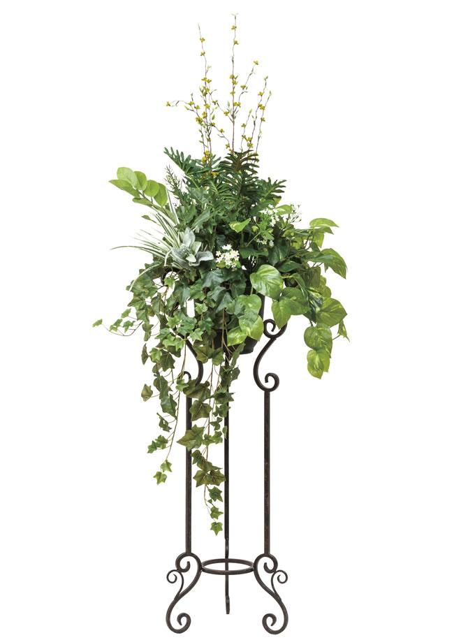 光触媒 光の楽園ミックスグリーンスタンドM1.45m【インテリアグリーン 人工観葉植物 スタンド花】