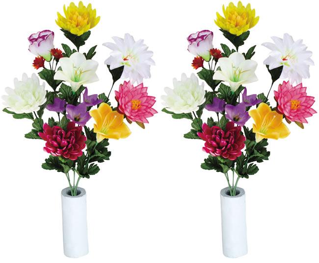 光触媒 光の楽園 仏花ゆり2個セット ホルダー付【仏花・盆花・仏壇用 アートフラワー 造花 お供え用】【RCP】