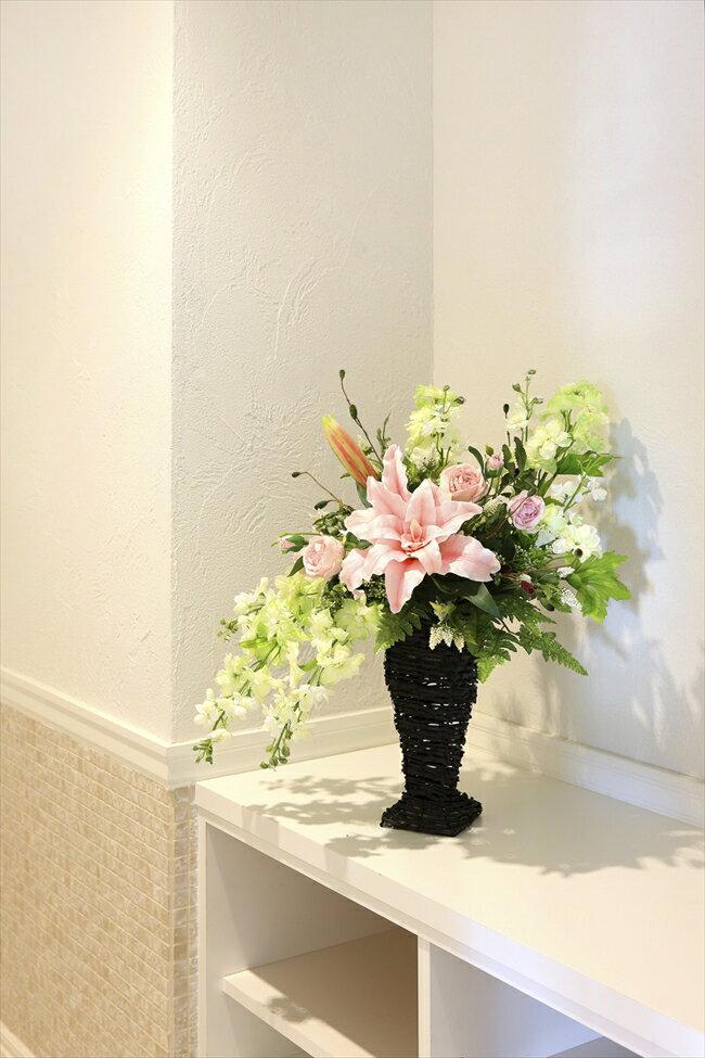 光触媒 造花光の楽園 フリルカサブランカフラワーアレンジメント