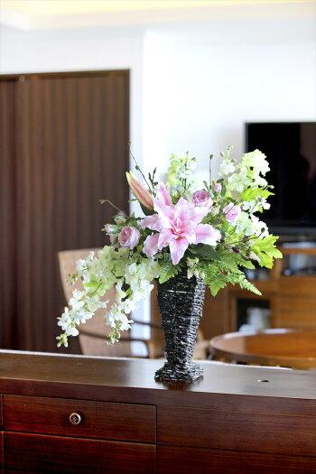 光触媒造花フリルカサブランカフラワーアレンジメント