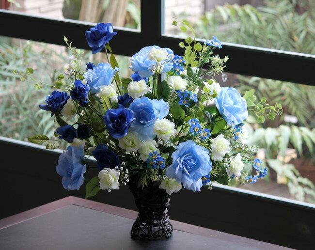【送料無料】光触媒 造花光の楽園 ブルースターローズフラワーアレンジメント