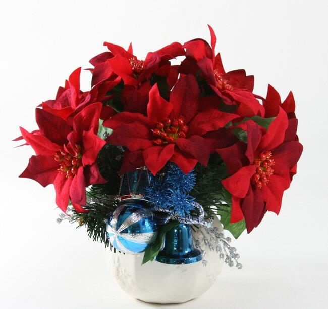 【送料無料】光触媒 光の楽園ポインセチア ブルー 【アレンジフラワー 造花】