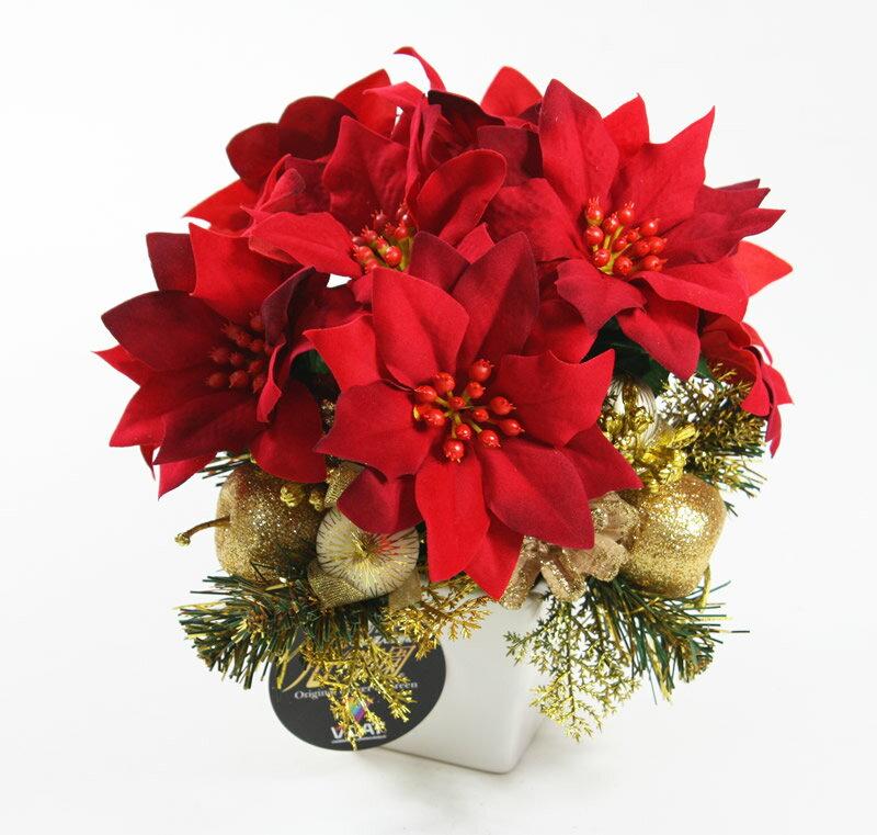 【送料無料 クリスマス特集】光触媒 光の楽園 ポインセチア ゴールド【アートフラワー 造花】