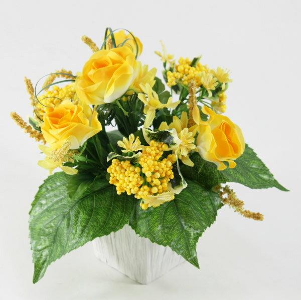光触媒 光の楽園 ミックスローズイエロー【アートフラワー 造花 人工観葉植物】