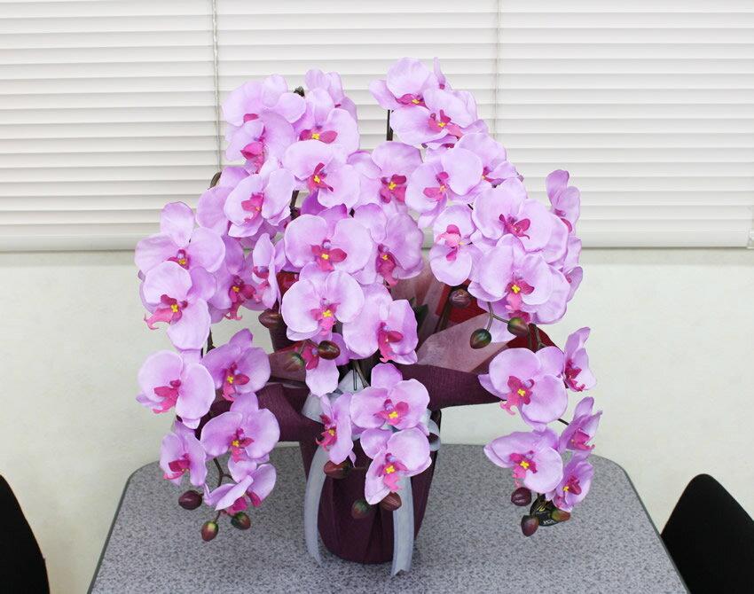 【送料無料】光触媒 光の楽園胡蝶蘭 ラベンダー(5本立)【造花 人工観葉植物】