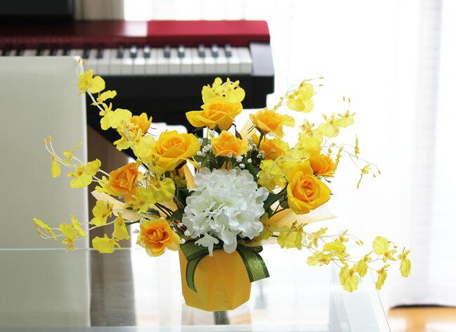 光触媒 光の楽園エンジェルローズ イエローアートフラワー 造花 人工観葉植物 光触媒人工植物
