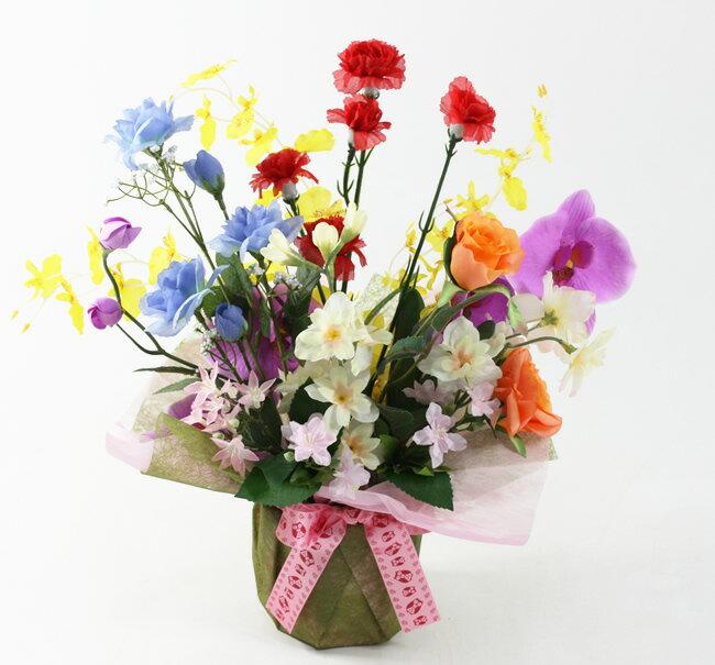 送料無料 光触媒 光の楽園開運8色アレンジフラワー(ふくろうリボン)アートフラワー 造花