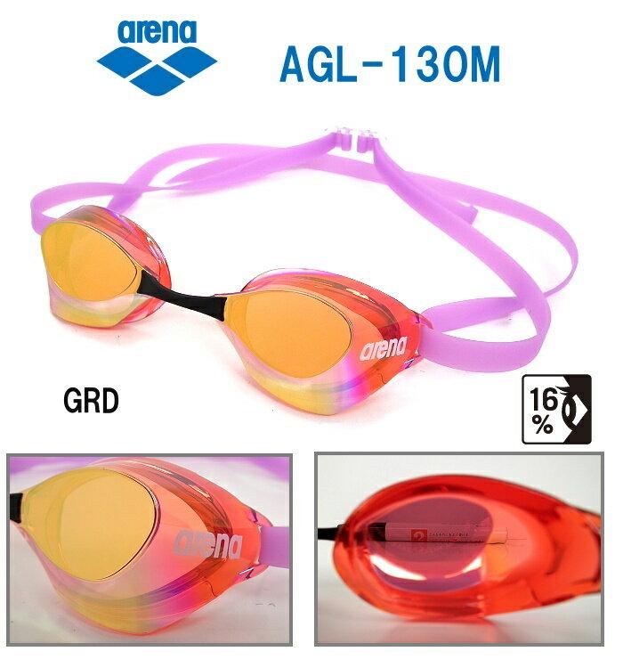 スイミングゴーグル 水泳 FINA承認 競泳 ミラーゴーグル ノンクッション アリーナ ARENA アクアフォーススイフト AGL-130M-GRD