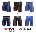 ●●【JCAST-16F】TYR(ティア) メンズトレーニング水着 CA STRIPE(カリフォルニア ストライプ) メンズロングボクサー[練習用水着/ハーフス...
