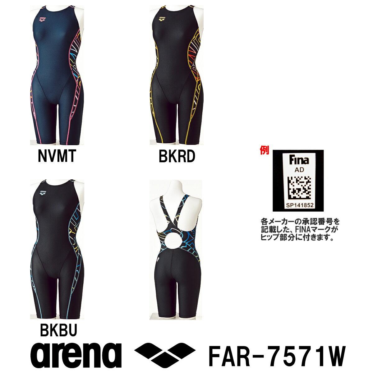 【送料無料】arena アリーナ 競泳水着 レディース スイムウェア スイミング セーフリーバックスパッツ 着やストラップ fina承認 UROKO SKIN 2017年FWモデル FAR-7571W