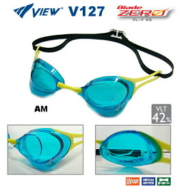 スイミングゴーグル ビュー VIEW Blade ZERO ブレードゼロ 競泳 水泳 FINA承認 クリアゴーグル ノンクッション V127-AM