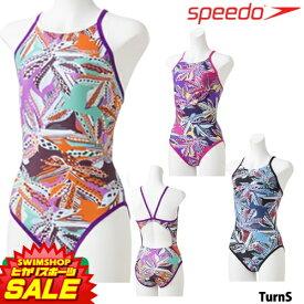 スピード SPEEDO 競泳水着 レディース 練習用 ボタニカルミックスターンズスーツ UV FLEX 競泳練習水着 2019年春夏モデル STW01910