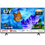 TCLP615シリーズ43型4K対応液晶テレビ4KBS/CSチューナー内蔵AndroidTV搭載43P615