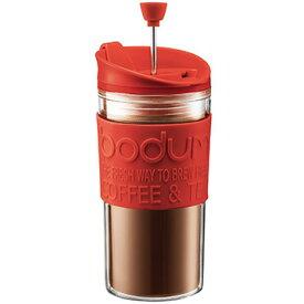 ボダムジャパン株式会社 トラベルプレス フレンチプレスコーヒーメーカー リッド付 プラスチック レッド K11102-294