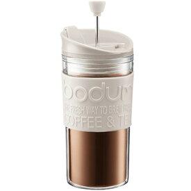ボダムジャパン株式会社 トラベルプレス フレンチプレスコーヒーメーカー リッド付 プラスチック オフホワイト K11102-913