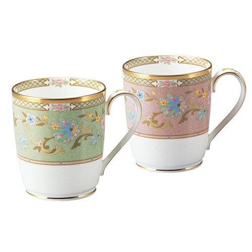 Noritake (ノリタケ) 日本製 ヨシノ ペアマグカップ (グリーン&ピンク) 【ギフト 出産内祝 結婚内祝 快気祝 お返し 各種内祝 引出物】