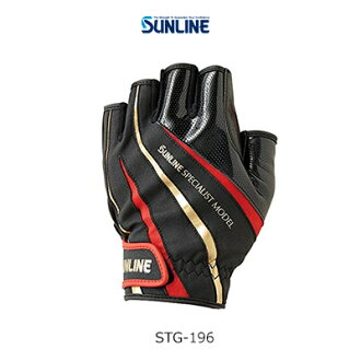 Sun Ra in status glove STG-196 black X red five cut gloves SUNLINE STATUS Glove STG196 fishing tackle fishing gloves gloveware article surf-fishing フカセウキ fishing