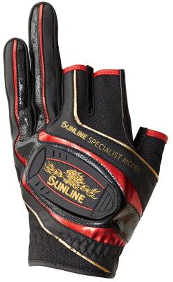 サンラインMAGグローブSUG-514(3本)ブラック×レッド手袋3本指カットSUNLINEMag-Glove【1個までメール便OK】釣り具フィッシング手袋グローブウェア用品磯釣りフカセウキ釣り
