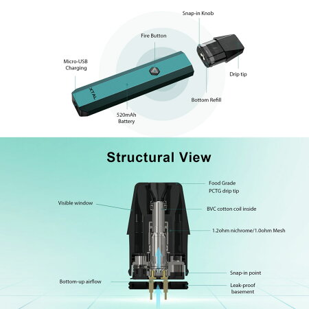【送料無料】ZQXtalPodSystem520mAh内蔵バッテリー大容量ゼットキューエクスタルクリスタルポッドシステム1.8ml電子タバコVAPEベイプスターターキット本体ポッドPODPOD型カートリッジ付DLMTL小型コンパクト爆煙Hilax