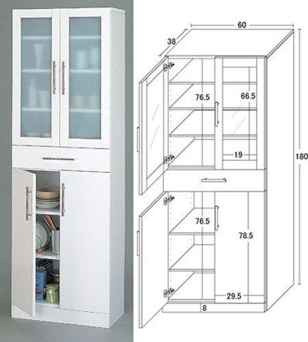 キッチン食器棚White/ハイタイプ/W60×H180:送料無料