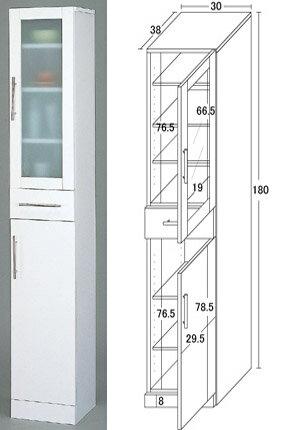 キッチン食器棚White/スリムタイプ/W30×H180:送料無料