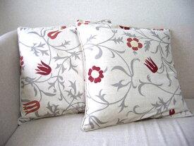 北欧麻クッションカバー2枚組 floral:45x45:送料無料※中身は付属しません。